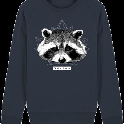 Sweat Shirt Raton Laveur/Racoon - Trash Panda - French Navy - Face