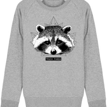 Sweat Shirt Raton Laveur/Racoon - Trash Panda - Heather Grey - Face