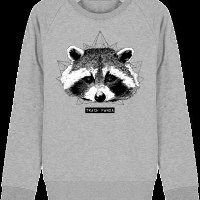 Sweat Shirt Raton Laveur/Racoon - Trash Panda - Heather Grey - Face