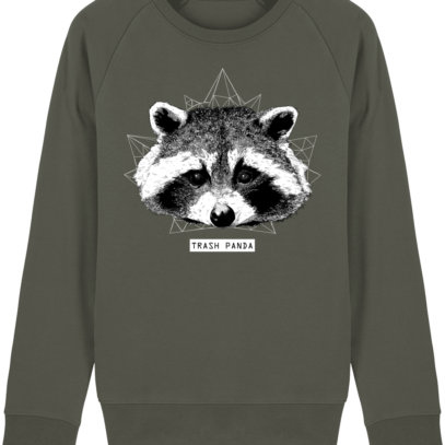 Sweat Shirt Raton Laveur/Racoon - Trash Panda - Khaki - Face