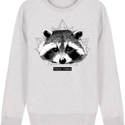 Sweat Shirt Raton Laveur/Racoon - Trash Panda - Cream Heather Grey - Face