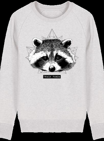 Sweat Shirt Raton Laveur/Racoon - Trash Panda - Cream Heather Grey - Face