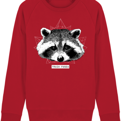 Sweat Shirt Raton Laveur/Racoon - Trash Panda - Red - Face