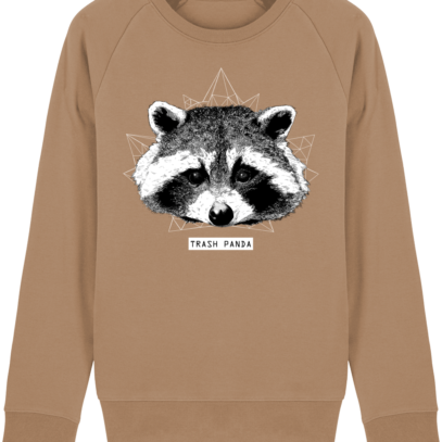 Sweat Shirt Raton Laveur/Racoon - Trash Panda - Camel - Face