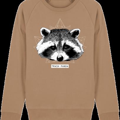 Sweat Shirt Raton Laveur/Racoon - Trash Panda - Camel - Face