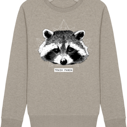Sweat Shirt Raton Laveur/Racoon - Trash Panda - Heather Sand - Face