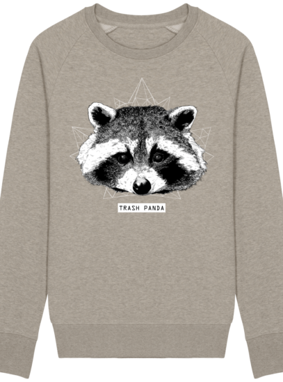 Sweat Shirt Raton Laveur/Racoon - Trash Panda - Heather Sand - Face