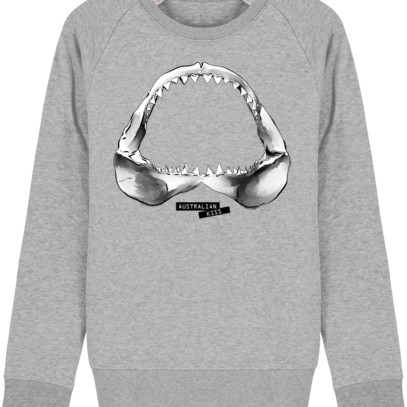 Sweat Shirt Requin / Shark - Australian Kiss - Heather Grey - Face