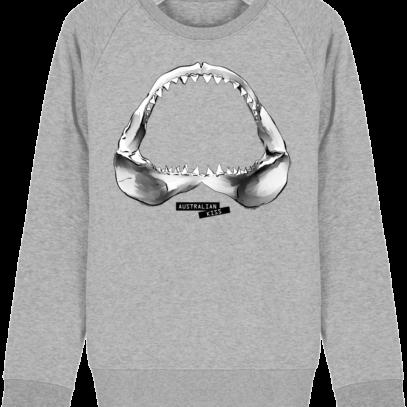 Sweat Shirt Requin / Shark - Australian Kiss - Heather Grey - Face