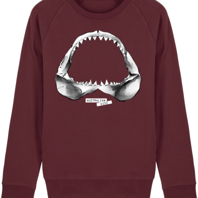 Sweat Shirt Requin / Shark - Australian Kiss - Burgundy - Face