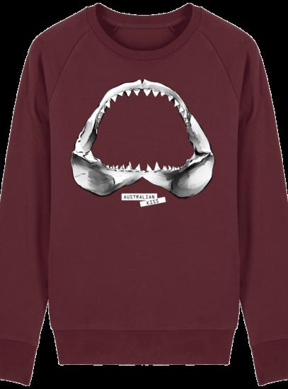 Sweat Shirt Requin / Shark - Australian Kiss - Burgundy - Face