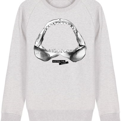 Sweat Shirt Requin / Shark - Australian Kiss - Cream Heather Grey - Face