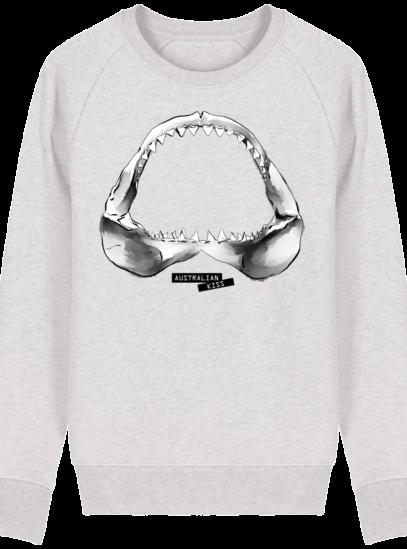Sweat Shirt Requin / Shark - Australian Kiss - Cream Heather Grey - Face