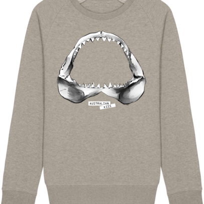Sweat Shirt Requin / Shark - Australian Kiss - Heather Sand - Face