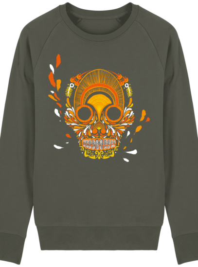 Sweat Shirt Breton - Breizh Skull - La Calavera Bretaña - Khaki - Face