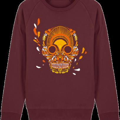 Sweat Shirt Breton - Breizh Skull - La Calavera Bretaña - Burgundy - Face