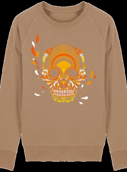 Sweat Shirt Breton - Breizh Skull - La Calavera Bretaña - Camel - Face