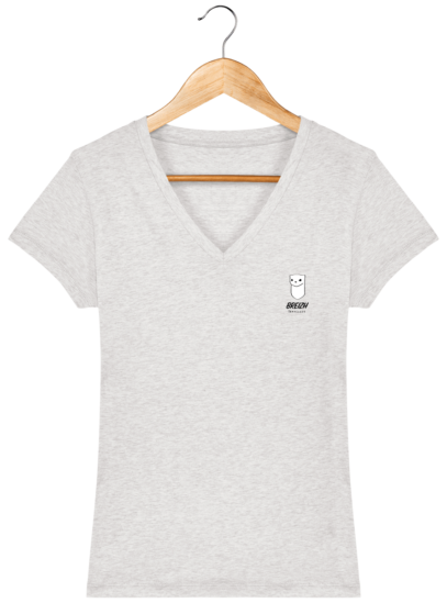 T Shirt Breton Hermine Bretonne – Breizh Traveller - Cream Heather Grey - Face
