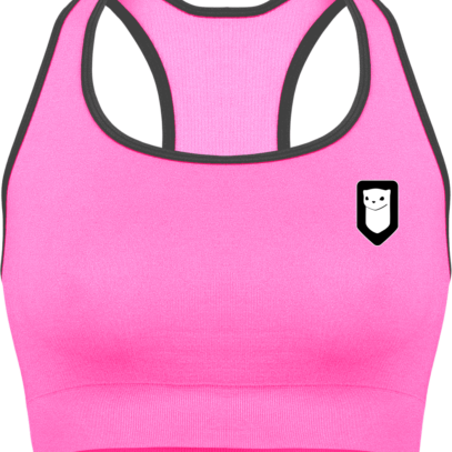Brassière sport Hermine bretonne - Fluorescent  Pink / Storm Grey - Face