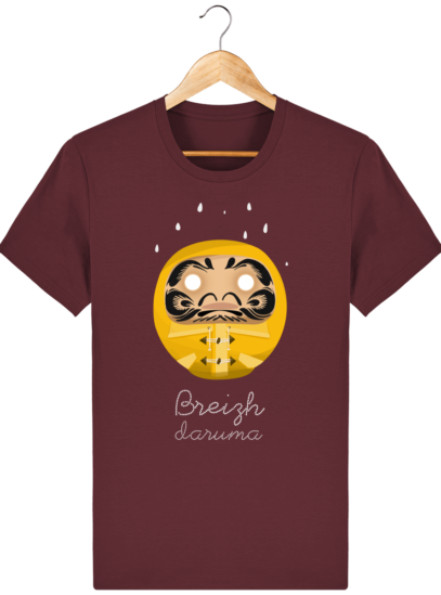 T Shirt Breton – Breizh Daruma Ciré Jaune - Burgundy - Face