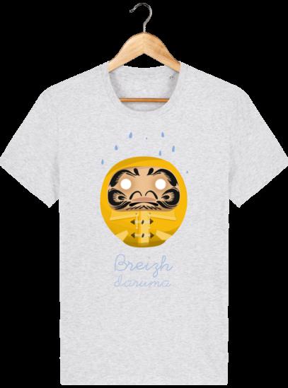 T Shirt Breton – Breizh Daruma Ciré Jaune - Heather Ash - Face