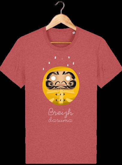 T Shirt Breton – Breizh Daruma Ciré Jaune - Mid Heather Red - Face