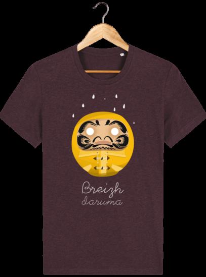 T Shirt Breton – Breizh Daruma Ciré Jaune - Heather Grape Red - Face