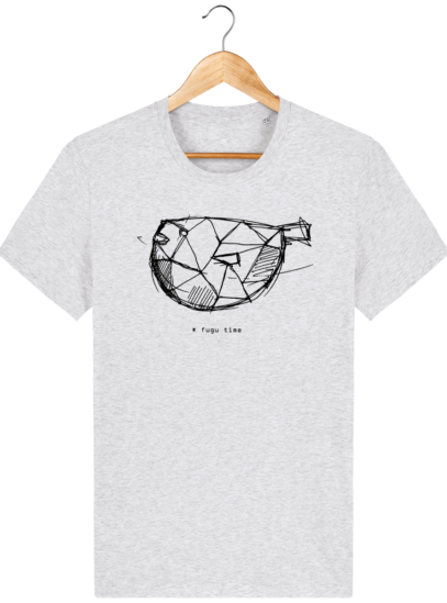 T Shirt Japon - Fugu time - Heather Ash - Face