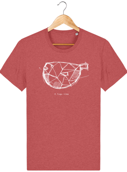 T Shirt Japon - Fugu time - Mid Heather Red - Face