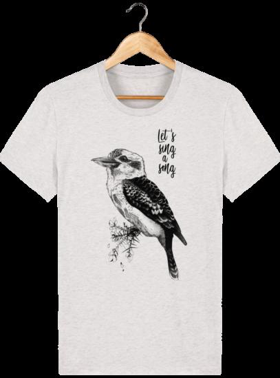 T Shirt Australie - Kookaburra - Let's sing a song - Cream Heather Grey - Face