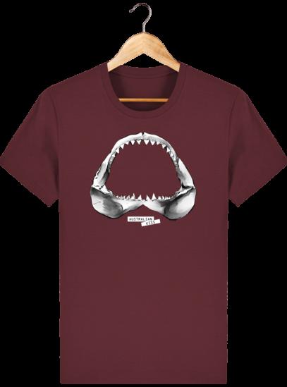T Shirt Australie Requin / Shark - Australian Kiss - Burgundy - Face