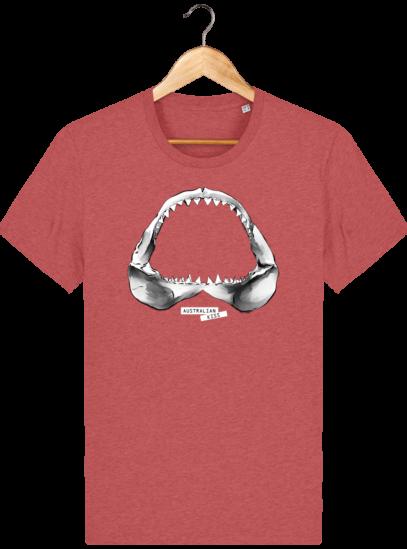 T Shirt Australie Requin / Shark - Australian Kiss - Mid Heather Red - Face