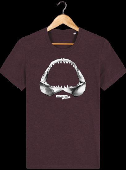 T Shirt Australie Requin / Shark - Australian Kiss - Heather Grape Red - Face