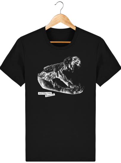 T Shirt Australie Crocodile - Australian Puppies - Black - Face