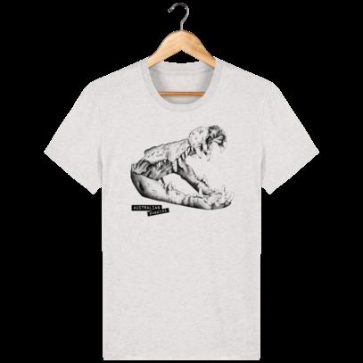 T Shirt Australie Crocodile - Australian Puppies - Cream Heather Grey - Face