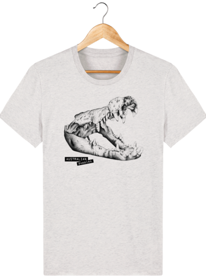 T Shirt Australie Crocodile - Australian Puppies - Cream Heather Grey - Face