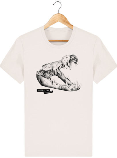 T Shirt Australie Crocodile - Australian Puppies - Vintage White - Face