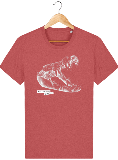 T Shirt Australie Crocodile - Australian Puppies - Mid Heather Red - Face