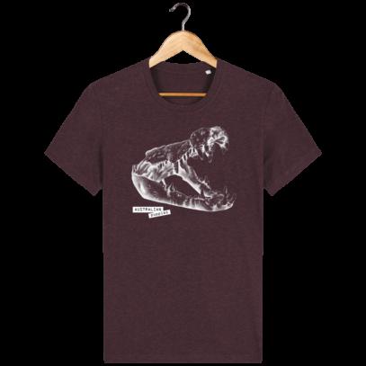 T Shirt Australie Crocodile - Australian Puppies - Heather Grape Red - Face