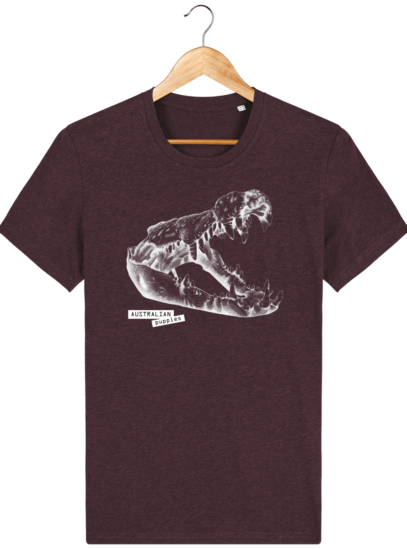 T Shirt Australie Crocodile - Australian Puppies - Heather Grape Red - Face