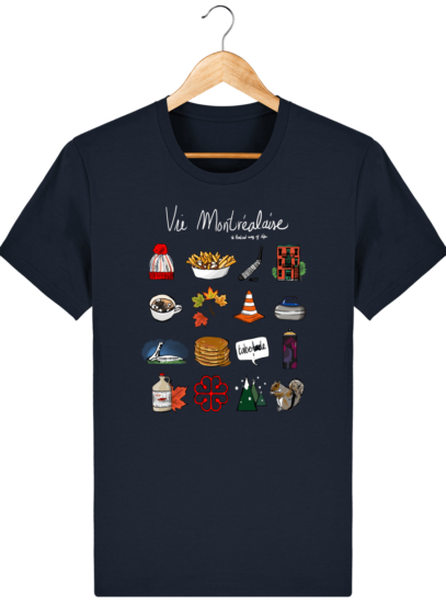 T Shirt Canada - Vie Montréalaise - Montréal way of life - French Navy - Face