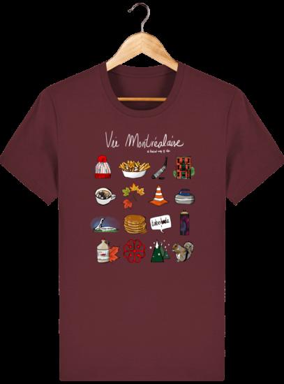 T Shirt Canada - Vie Montréalaise - Montréal way of life - Burgundy - Face