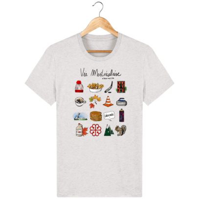 T Shirt Canada - Vie Montréalaise - Montréal way of life - Cream Heather Grey - Face