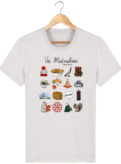 T Shirt Canada - Vie Montréalaise - Montréal way of life - Cream Heather Grey - Face