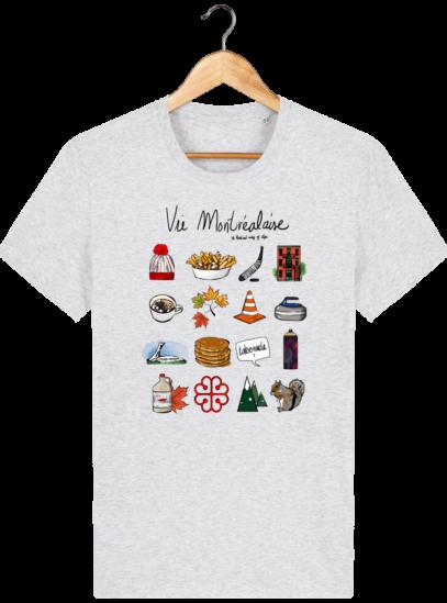 T Shirt Canada - Vie Montréalaise - Montréal way of life - Heather Ash - Face