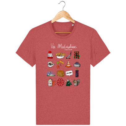 T Shirt Canada - Vie Montréalaise - Montréal way of life - Mid Heather Red - Face
