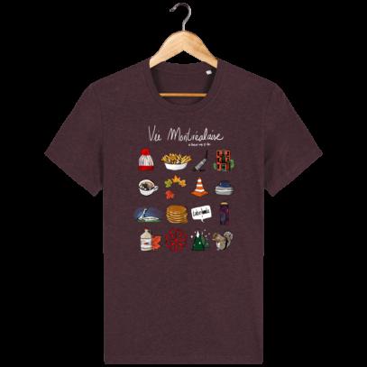T Shirt Canada - Vie Montréalaise - Montréal way of life - Heather Grape Red - Face