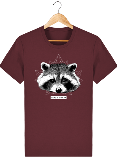 T Shirt Canada - Raton Laveur/Racoon - Trash Panda - Burgundy - Face