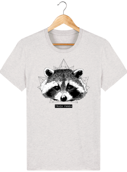 T Shirt Canada - Raton Laveur/Racoon - Trash Panda - Cream Heather Grey - Face
