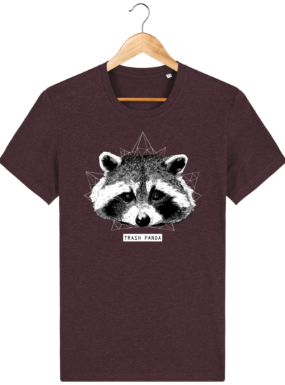 T Shirt Canada - Raton Laveur/Racoon - Trash Panda - Heather Grape Red - Face
